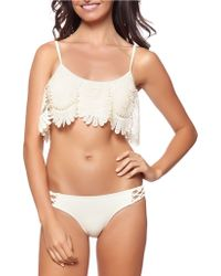 Jessica Simpson Flower Power Bikini Top - White