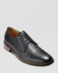 Cole Haan Lenox Hill Cap-Toe Pebbled Leather Oxfords - Black
