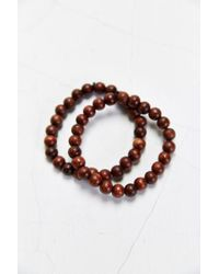 Urban Outfitters Two Brown Beaded Bracelet - Lyst