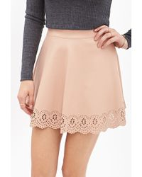 Forever 21 Scalloped Faux Leather Skirt - Lyst