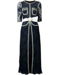 Alessandra Rich Belted Knit Trim Lace Dress blue - Lyst
