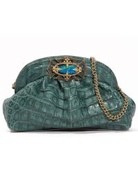 Armenta Crocodile Gathered Clutch Bag Teal - Green