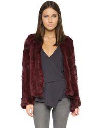 H Brand Emily Fur Coat - Port - Red