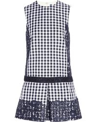 MSGM Embroidered Checked Dress - Lyst