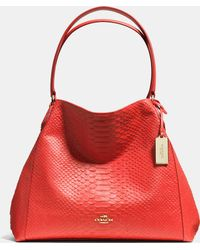 Coach Edie Shoulder Bag In Python Embossed Leather pink - Lyst