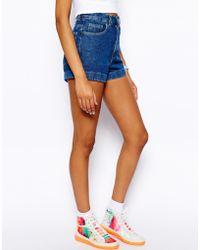 American Apparel High Waist Denim Shorts - Blue