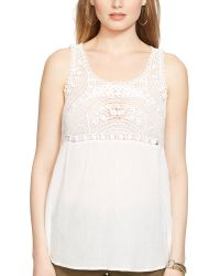 Ralph Lauren Crocheted Cotton Top - Lyst