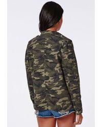 Missguided Zip Detail Camo Utility Jacket Khaki - Green