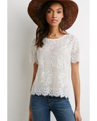 Forever 21 Sheer Eyelash Lace Top - Lyst