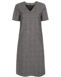 Paul Smith Women'S Grey Prince Of Wales Check V-Neck Dress gray - Lyst