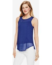 Vince Camuto Sleeveless Mixed Media Top - Lyst