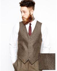 Asos Slim Fit Waistcoat In Herringbone - Lyst