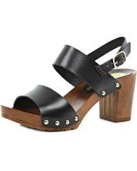 River Island Black Leather Slingback Wooden Heel Sandals - Lyst