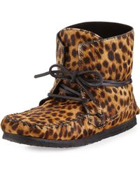 Isabel Marant Flavie Leopard-print Calf Hair Moccasin Boot - Lyst