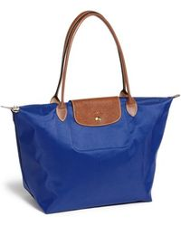 Longchamp 'Large Le Pliage' Tote blue - Lyst
