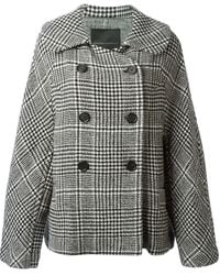 Ermanno Scervino Checked Double Breasted Coat - Lyst