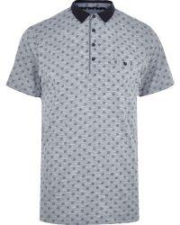 River Island Blue Foulard Print Polo Shirt - Lyst