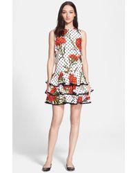 Dolce & Gabbana Carnation & Polka Dot Print Cotton Dress - Lyst