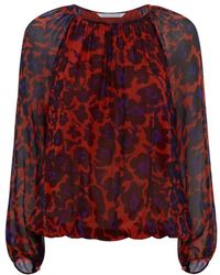Diane von Furstenberg Hathaway Cheetah Floral Top - Lyst