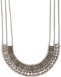 Lucky Brand Textured Metal Necklace - Metallic