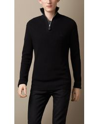 Burberry Cotton Cashmere Rib Sweater - Lyst