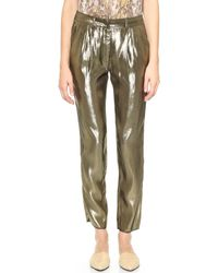 Jenni Kayne Pleated Metallic Pants - Gold - Lyst