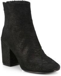 Ash Ginger Pythonembossed Leather Ankle Boots - Lyst