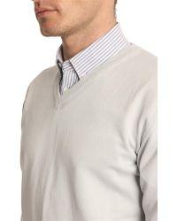Menlook Label Grey V-Neck Sweater - Lyst