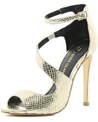 River Island Gold Asymmetric Stiletto Sandals - Lyst