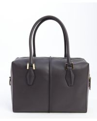 Tod's Dark Grey and Burgundy Leather Small Top Handle Tote - Lyst