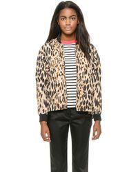 Sonia By Sonia Rykiel Leopard Nylon Jacket - Camelblack - Lyst