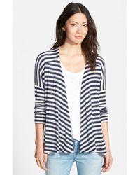 Pleione Stripe Drop Shoulder Open Front Cardigan blue - Lyst