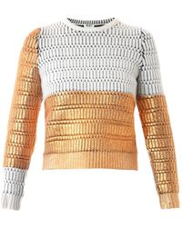 Kenzo Metallic Lacquered Wool Sweater - Lyst