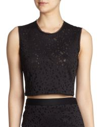 Elizabeth And James Floral Laser-Cut Cropped Top - Lyst