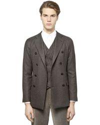Giorgio Armani Wool Blend Tweed Jacket - Lyst