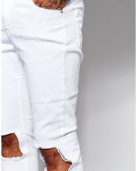 Jaded London Super Skinny Jeans With Frayed Knee Rips - White