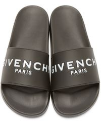 Givenchy - Black Printed Slide Sandals - Lyst