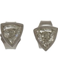 Malcolm Betts - Trillion Cut Diamond Stud Earrings - Lyst