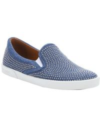 Jimmy Choo Blue Denim Micro Studded 'Demi' Slip-On Sneakers - Lyst