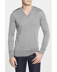 Burberry Brit - 'garth' Check Print Shoulder Detail Cashmere & Cotton Sweater - Lyst