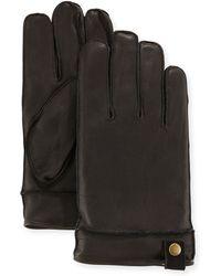 Neiman Marcus Snap-tab Leather Gloves - Black