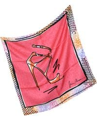 Jimmy Choo Coral Stiletto Printed Twill Silk Square Scarf - Lyst