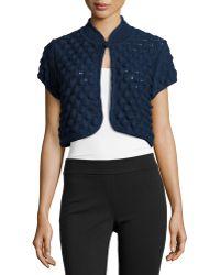 Carolina Herrera Short-Sleeve Popcorn-Knit Bolero - Lyst