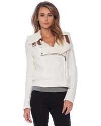Twelfth Street Cynthia Vincent Shearling Lined Moto Jacket - Lyst