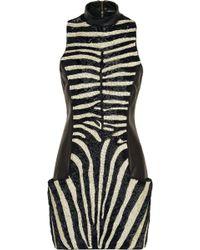 Balmain Long-Sleeved Striped Chenille Mini Dress black - Lyst