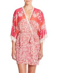 In Bloom Printed Chiffon Wrap Robe pink - Lyst