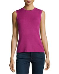 Carolina Herrera Sleeveless Basic Knit Shell - Lyst