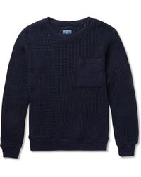 Blue Blue Japan Indigo-dyed Waffle-knit Cotton Sweater - Lyst