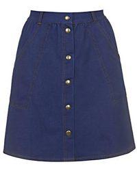 Topshop '70S Wash Button Through Skirt - Lyst