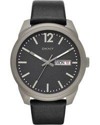 DKNY Gansevoort Black Leather 3 Hand Watch, Mens - Gray